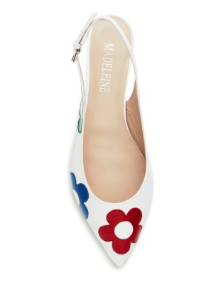 Ballet flats with shiny leather flower appliqué