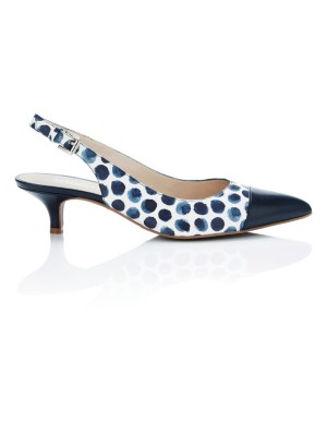 Nautical contrast kitten heel slingbacks