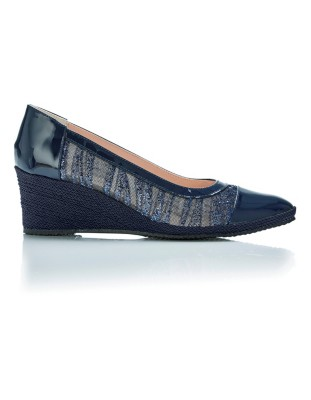 Court shoes with woven-effect wedge heel