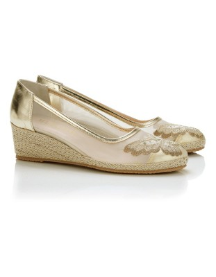 Wedges with rhinestone-adorned butterfly embroidery