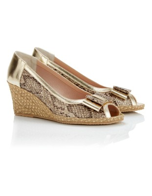 Snakeskin print and metallic peep-toe wedges with bow
