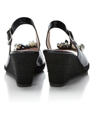Slingback wedges with sparkling embellishment