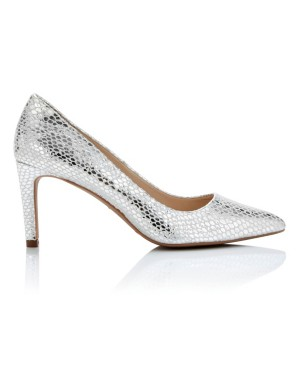 Embossed metallic court shoes