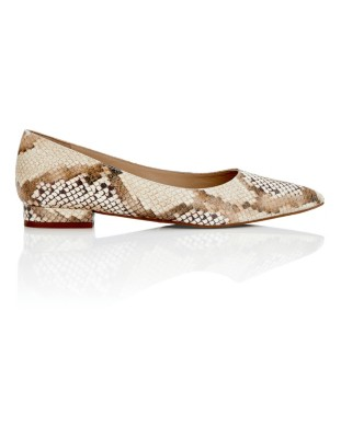 Snakeskin print pointed ballet flats