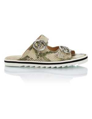 Snakeskin print slider sandals with buckles