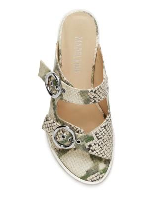 Snakeskin print slider sandals