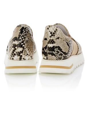 Snakeskin print loafers