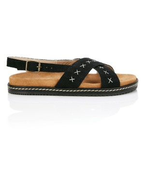 Cross-strap slider sandals