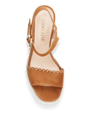 Wedge sandals with scallop and eyelet front