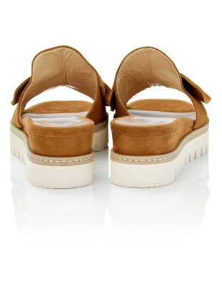 Wedge heel sliders with bow