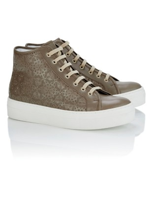 Perforated leather trainers