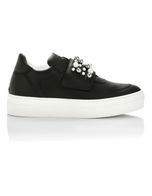 Trainers with faux pearl trim