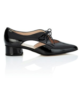 Patent leather lace-ups with cut-out sides