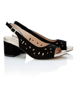 Block heel slingbacks with cut-out detailing