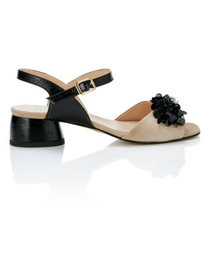 Block heel sandals with sequin flower front