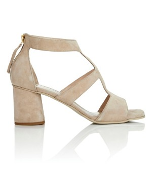 Italian soft suede sandals with heel zip