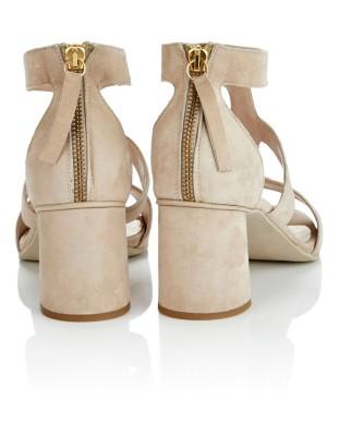 Italian soft suede sandals with heel zip