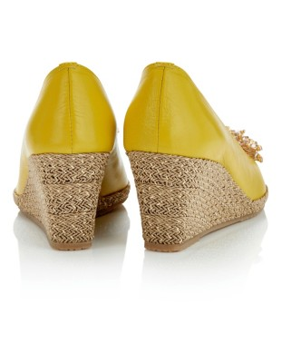 Peep-toe wedges with embellished front