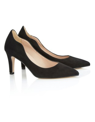 Suede wavy-edged heels