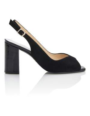 Block heel peep-toe slingbacks
