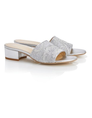 Mules with mesh insert and lace trim