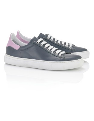 Lace-up leather trainers