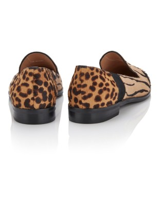 Mixed animal print loafers