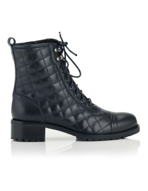 Quilted lace-up zipped boots