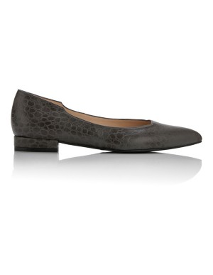 Pointed embossed ballet flats