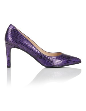 Pointed embossed leather court shoes