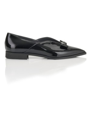 Bow front patent ballet flats