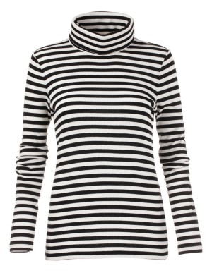 Striped polo neck top