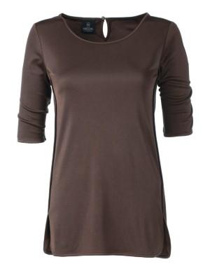 Sleek silk top in natural tones