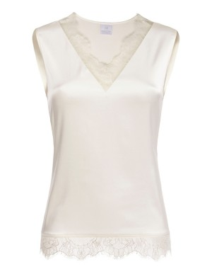 Sleeveless evening top with lace trim