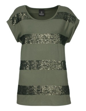 Easy-care top with sequined stripes