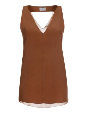 Sleeveless silk blouson top