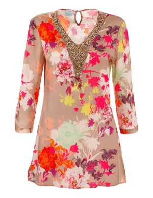 Decorated floral tunic