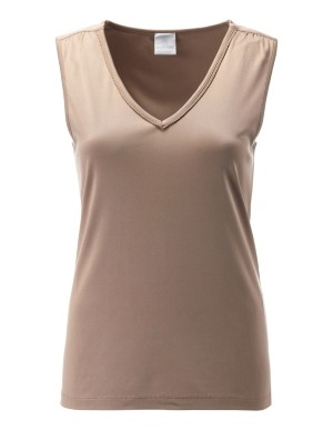 Sleeveless silk top in natural tones