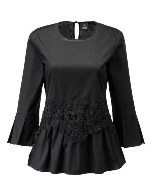 Blouse with lace waist trim and sleeve flounces