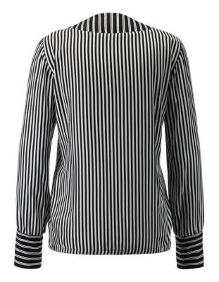 Striped, wrap-around blouse