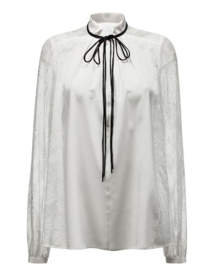 Lace-sleeved blouse with satin ribbon ties