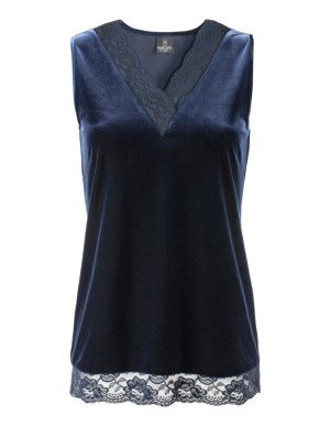 Sleeveless velvet top with lace