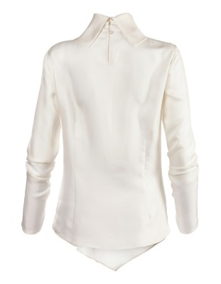 Asymmetric silk blouse with knot
