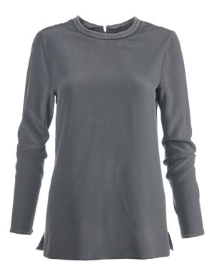 Casual silk top with decorative chain