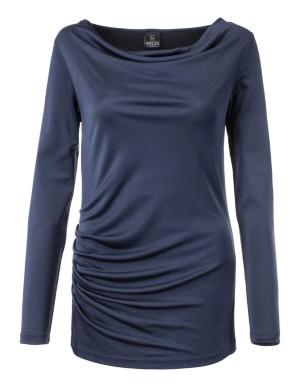 Sleek silk top with waterfall neck