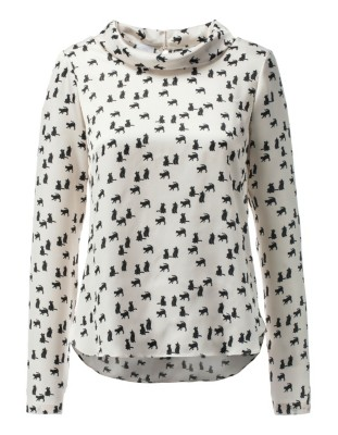 Cat print blouse