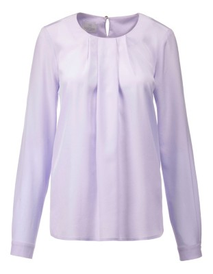 Relaxed-fit silk blouse with delicately pleated neckline