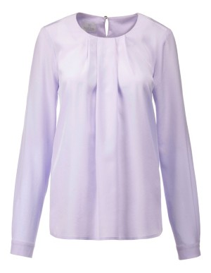 Silk blouse with pleated neckline