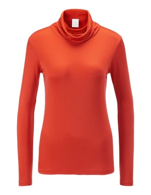 Silk basic polo neck top