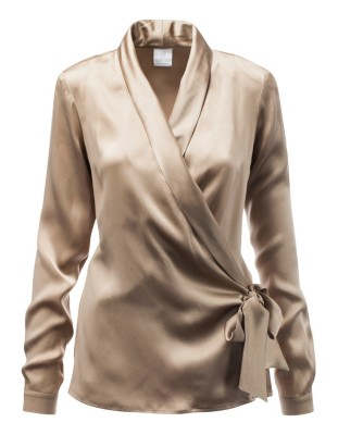 Sleek silk wrap-around blouse